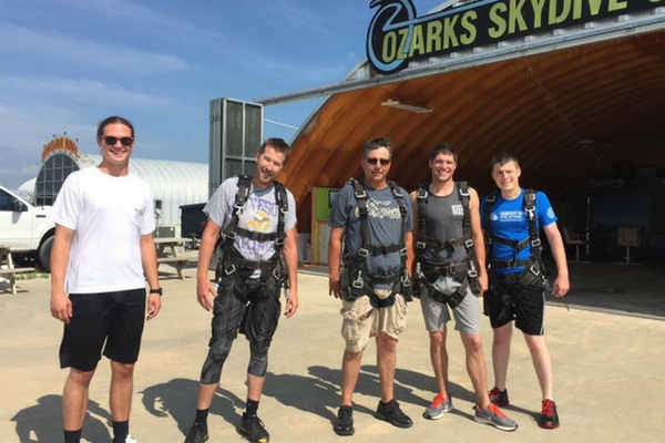 friends getting ready to go skydiving at Ozarks Skydive Center